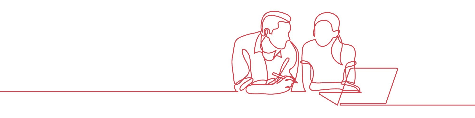 Continuous line of man and woman on laptop